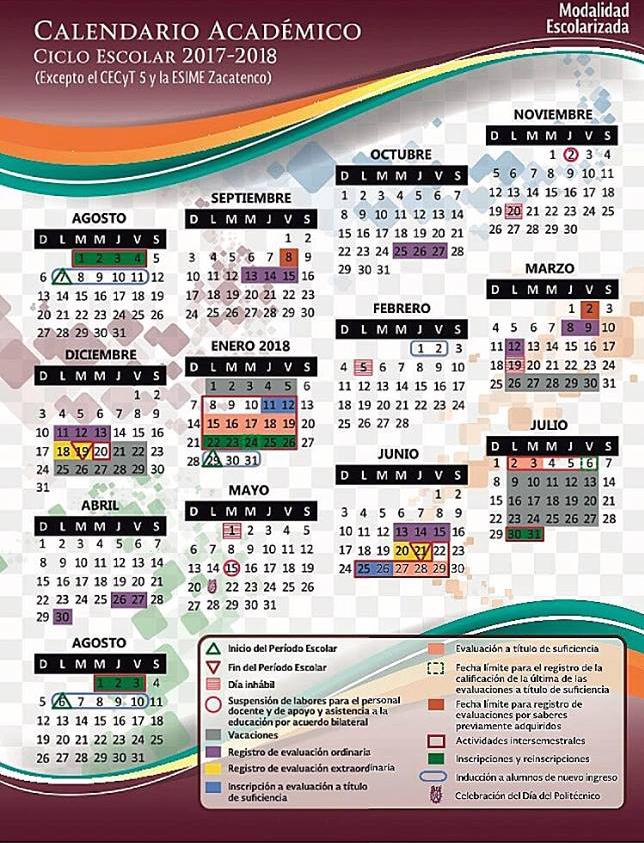 calendario oficial IPN 2017-2018